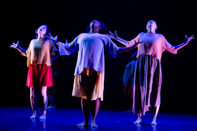"""Walking with Pearl...Africa Diaries,"" chor. Jawole Willa Jo Zollar. Perf. Nov. 2013, Bates College. Dancers (l-r): Laura Pietropaoli, Tomisha Edwards, Kathryn Ailes."