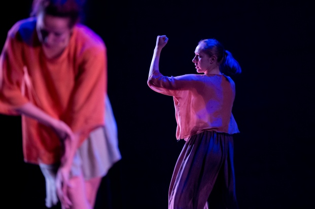 """""""Walking with Pearl...Africa Diaries,"""" chor. Jawole Willa Jo Zollar. Perf. Nov. 2013, Bates College. Dancers (l-r): Colleen Fitzgerald, Kathryn Ailes."""