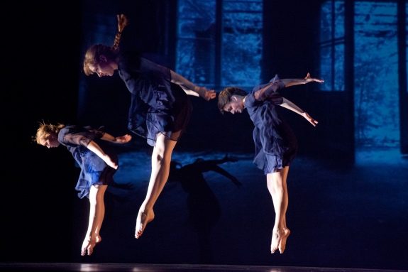 """Empty House,"" chor. Talia Mason, Spring 2013. Dancers (l-r): Kelsey Schober, Kathryn Ailes, Tara Das. Photo Credit: Phyllis Graber Jensen."