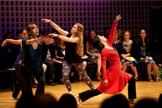 Performance at the Phi Beta Kappa Induction, Bates College, May 2014. Dancers (l-r): Sonja Favaloro, Kathryn Ailes, Hannah Miller, Mariya Manahova. Photo Credit: Sarah Crosby.