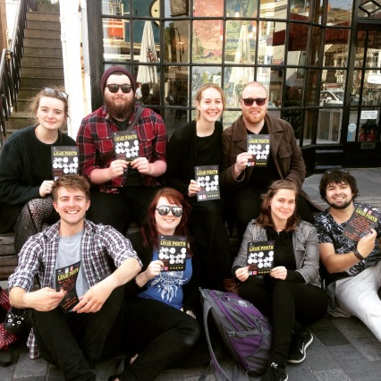 The entire Loud Poets crew out flyering: Back row, L to R - Catherine Wilson, Doug Garry, myself, Kevin Mclean. Front row, L to R - Michael Wood (drums), Fiona Liddell (violin), Agnes Török, MiKo Berry.