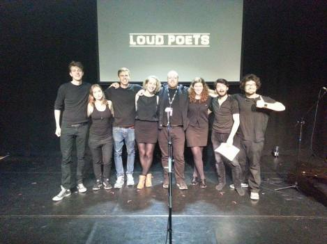 Loud Poets, Scottish Storytelling Centre, 10 Aug 2015. L-R: Michael Wood, Agnes Török, Harry Baker, Katie Ailes, Kevin Mclean, Carly Brown, Sam Thorne, Miko Berry. Photo credit: Nicola Stanley.