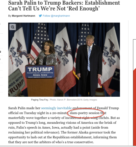 "Excerpt from NY Mag article ""Sarah Palin to Trump Backers: Establishment Can't Tell Us We're Not ""Red Enough"""" http://nymag.com/daily/intelligencer/2016/01/palin-trump-endorsement.html#"