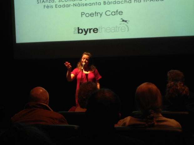 The wonderful Kirsten Luckins performing at the Poetry Cafe on Friday.