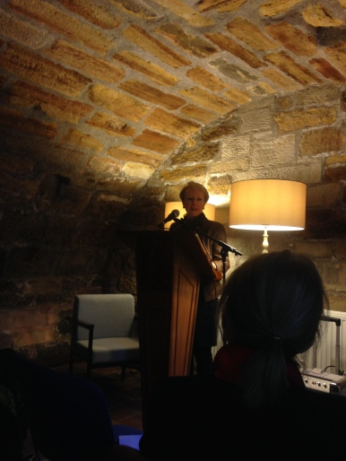 Clare Best reading at the Undercroft during Border Crossings on Sunday.